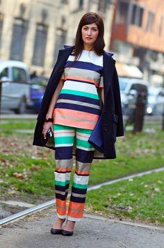 Valentina Siragusa, Stripes in Milan | Street Fashion | Street Peeper | Global Street Fashion and Street Style