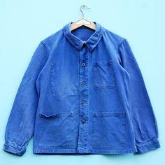 Vintage French chore jacket |Bleu de travail|Worn 1960s French moleskin blue work jacket|Free shipping by ZUTusine on Etsy
