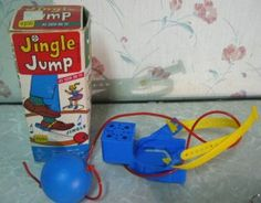 One of my favorite toys!!  This is the classic Jingle Jump.   The yellow part was secured around the ankle; the heel fit into the blue cuff part and the blue box behind it contained jingle bells.