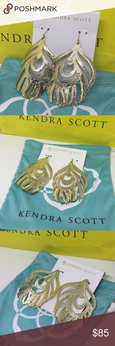 "AUTH KENDRA SCOTT NEW KARINA GOLD FEATHER EARRINGS AUTHENTIC KENDRA SCOTT NEW ON CARD KARINA GOLD FEATHER LEAF SHAPED GOLD DANGLE FRENCH WIRE DROP VINTAGE DESIGN TIMELESS EARRINGS - comes with blue Kendra Scott jewelry bag. 2.75 X 1.75"" GREAT GIFT FOR MOTHRS OR GRADUATION DAY. I have matching vintage Kendra Scott feather cuff in my personal collection if you are interested ;D Kendra Scott Jewelry Earrings"