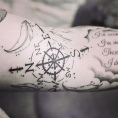 Compass Tattoo, Feather Tattoo, Guy Tattoo, Tattoo Sleeve