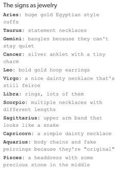 Image via We Heart It #Aquarius #aries #astrology #cancer #gemini #jewelry #Leo #Libra #list #necklace #pisces #ring #Sagittarius #scorpio #taurus #tumblr #virgo #zodiac #capricorn