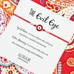 Red Enamel Evil Eye Bracelet with Card Evil Eye by AllyriaSky
