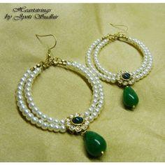 Green drop bali Ring Earrings, Women Accessories, Handmade Jewelry, Beaded Bracelets, Jewellery, Pearls, Bali, Drop, Green