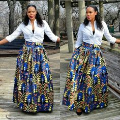 There are gazillion ways to wear your Ankara maxi skirts any time of the year. Depending on the occasion or your mood, you can never go wrong with an Ankara maxi skirt, if worn the right way. African Dresses For Women, African Print Dresses, African Attire, African Wear, African Fashion Dresses, African Prints, African Style, African Patterns, African Clothes