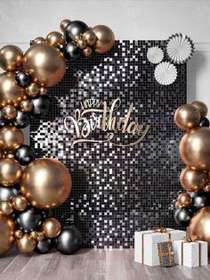 Birthday Decorations At Home, Wedding Wall Decorations, Balloon Decorations Party, Sequin Wall, Deco Ballon, Wall Backdrops, 40th Birthday Parties, Balloons, Wall Décor