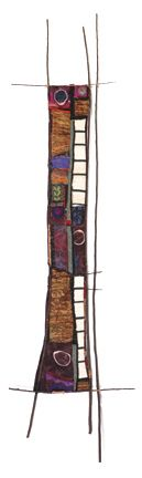 12x50 in.; found and new textiles, tree branches, copper, paper, copper wire, guitar string, painted canvas