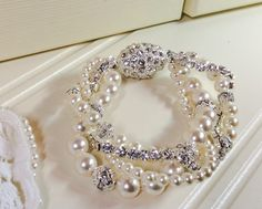 Any colour, 4 strand Swarovski pearl, diamante and crystal cuff bracelet, with Diamante rhinestone clasp, wedding bracelet, bridal cuff by dazzlejewellery1 on Etsy