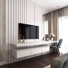 48 Cool Bedroom Tv Wall Design Ideas - Because the average person sleeps around hours each day, we have to pay attention to bedroom decoration. It has been said and proven that you can . Bedroom Tv Unit Design, Luxury Bedroom Design, Tv Wall Design, Home Room Design, Home Interior Design, Living Room Designs, Design Case, Bedroom Tv Wall, Master Bedroom