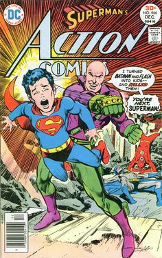 Action Comics  #466  by Neal Adams DC Comics Book cover art super heroes villians superman lex luthor