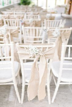 Hessian & Gypsophila Chair Decor | Sarah Jane Ethan Photography | http://www.rockmywedding.co.uk/charlotte-kevin/
