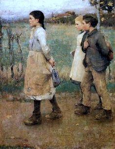 Schoolmates (1884). by Sir James Guthrie (Scottish painter, 1859-1930).
