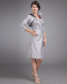 Taffeta Sweetheart Ruffle Knee Length Mothers Of Bride Guests Dress
