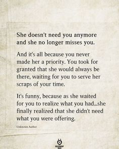 She Doesn't Need You Anymore And She No Longer Misses You - Trend Switchfoot Quotes 2019 Waiting For You Quotes, Needing You Quotes, Love Quotes For Her, Waiting For Love, Goodbye Quotes For Him, She Quotes, Breakup Quotes, Couple Quotes, Quotes About Divorce