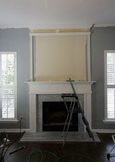 Simple but Dramatic DIY Fireplace Update – Modern brick fireplace Fireplace Update, Brick Fireplace Makeover, Shiplap Fireplace, Old Fireplace, Fireplace Remodel, Fireplace Surrounds, Fireplace Ideas, Simple Fireplace, Electric Fireplace