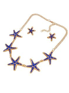 Starfish Rhinestone Necklace And Earring