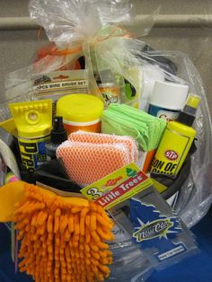 Car Wash Kit Basket - I want this with defroster spray, sponges, tire shine, amourall for the interior...maybe a dust buster!