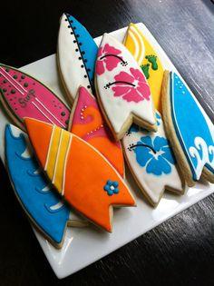 Surf Board luau beach decorated Cookies 1 by thetalentedcookie