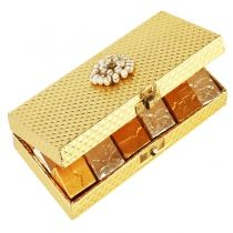 Golden Mix Nuts Chocolate Box: A beautiful golden wooden box decorated with pearl broach containing delicious mixed nuts Chocolates.