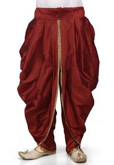 Art dupion silk readymade dhoti in maroon (indian groom wear) Dhoti Pants For Men, Dhoti Mens, Kurta Men, Mens Silk Pants, Boys Kurta, Wedding Dresses Men Indian, Wedding Dress Men, Mens Festival Wear, Festival Style