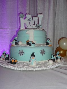 """1st Birthday cake made by my niece for her brother's triplets, """"K, M, & J """""""