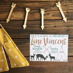 So simple, yet all boy!   Shops included in picture (on Instagram): Invitation: @chasingprints Wooden arrow garland: @thatspecialtouch_homedecor Teepee: @katahdin_nooks