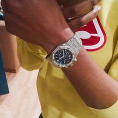 Blue dial Audemars Piguet with a Diamond set bezel