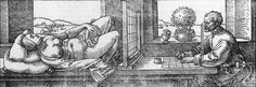 """artist-durer: """"Draughtsman Drawing a Recumbent Woman, 1525, Albrecht Durer Medium: woodcut"""""""
