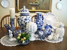 Blue and White, roosters and pineapples.......oh my......