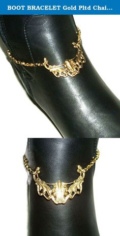 "BOOT BRACELET Gold Pltd Chain Anklet Or Choker Necklace Victorian Flourish Design. This listing is for ONE Gold plated boot chain bracelet that features a beautiful highly detailed Victorian design center plaque. If you want a matching boot chain for both of your boots then you will need to make sure you order two of them. (many customers like to wear just one so that is why they are not sold as a pair but individually) The center design section is 1 5/8 x 1 3/8"". Not all boots are the…"
