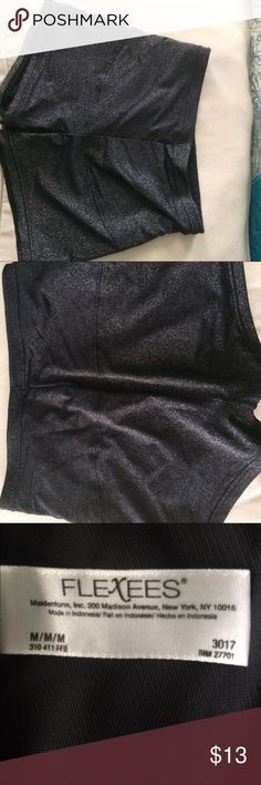 Maidenform Flexees body control Flexees body control stretches to help hold in lower stomach. Nylon blend. Crutch  is 100% cotton. Black metallic color. Size medium. I laundered these, but don't believe I ever wore them. Maidenform Intimates & Sleepwear Panties