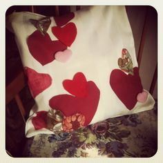 Upcycled cushion, hearts and fabric, that I did make today.