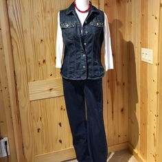 "Chico's Jean Vest & Pant Set sz1 Chico's (8-10) Chico's Denim jeans & vest with ""rhinestones""! Pants are 99% cotton & 1% spandex. They are zip up with a button and they have belt loops. The pants are 30"" inseam, regular. They also have ""rhinestones"" around the edge of the front pockets too! Only worn a couple of times! Like newsize 1 Chico's is 8-10. Chico's Jeans"