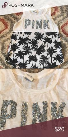 VS PINK tank Bling with palm trees PINK Victoria's Secret Tops Tank Tops