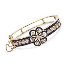 C. 1960 Vintage 2.25 ct. t.w. Floral Diamond Bangle Bracelet in 14kt Yellow Gold. 6