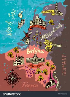 Art Print: Illustrated Map of the Netherlands, Belgium, Luxembourg by Daria_I : Travel Maps, Travel Posters, Holland Map, Amsterdam Map, Netherlands Map, Stock Image, Thinking Day, Map Design, World Maps