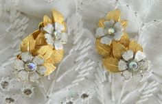 Vintage Signed Kramer Clip On Earrings Brushed Silver Gold Rhinestone Flowers