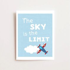The Sky is the Limit Nursery Art Print. Adorable for an airplane themed nursery! Cute coordinating prints at this link too.