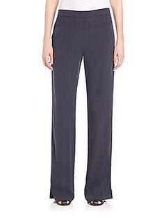 Vince Mixed Media Wide-Leg Pants - Coastal Blue - Size Xx Small