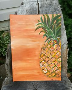 Pineapple on canvas acrylic painting Pinapple Painting, Fruit Painting, Easy Canvas Painting, Summer Painting, Diy Paintings On Canvas, Mini Canvas Art, Diy Canvas, Pineapple Art, Pineapple Quotes