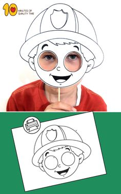 Fireman Mask Printable Kindergarten Activities, Preschool Crafts, Activities For Kids, Fall Crafts For Toddlers, Diy For Kids, Fireman Crafts, Dot To Dot Printables, Community Helpers Preschool, Fall Arts And Crafts