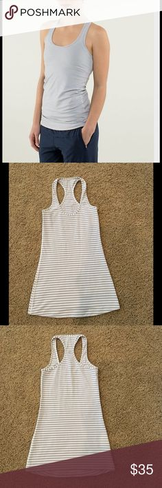 Lululemon Cool Racerback tank Sz 2 In perfect condition grey and white stipe super cute and flattering lululemon athletica Tops Tank Tops
