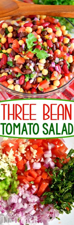 Three Bean Tomato Salad that will wow all your guests! Light and savory, it's the perfect addition to any picnic or barbecue. Filled with fresh ingredients for an amazing vegetarian side dish that's perfect for summer!