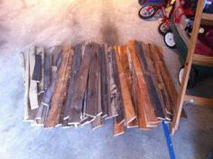 wood pallet wood, stripped and ready to be used.