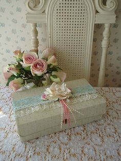 Vintage Glove Box - Shabby Pink Cottage Roses n Lace.
