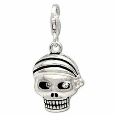 SilberDream Charm pirate skull, 925 Sterling Silver Charms Pendant with Lobster Clasp for Charms Bracelet, Necklace or Earring FC695 SilberDream Charms. $19.45