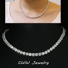 Luxury Sparkling White Gold Plated 0.8 CM Big Carat Cubic Zirconia Diamond Crystal Round Choker Necklaces For Women CP044 www.bernysjewels.com #bernysjewels #jewels #jewelry