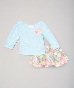 Look what I found on #zulily! White & Blue Winter Birds Top & Twirl Skirt - Toddler & Girls by Carolina Kids #zulilyfinds