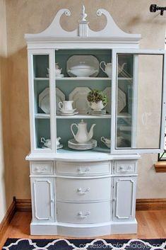 Duck Egg Blue and White China Hutch White China Cabinets, Painted China Cabinets, Curio Cabinets, Kitchen Cabinets, China Cabinet Decor, Hutch Display, Display Cabinets, Blue And White China, Cabinet Makeover