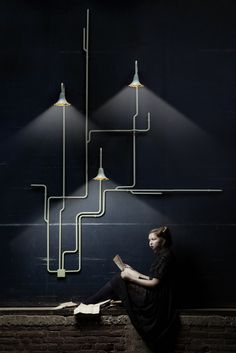 Wall and ceiling lighting system Light Forest is the brain child of young Dutch design duo Ontwerpduo. The design consists of different parts, which can be connected to ceilings or walls, step by step the lighting system will Deco Luminaire, Luminaire Design, Lamp Design, Interior Lighting, Lighting Design, Pipe Lighting, Conduit Lighting, Design Light, Luxury Lighting